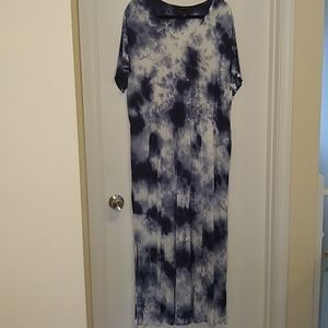 Lane Bryant blue & white tie dye maxi dress